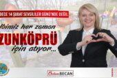 """Uzunköprü Belediyesi'nden erken 14 Şubat kutlaması: """"AŞKLA UZUNKÖPRÜ"""""""