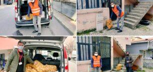 Sancaktepe'de ihtiyaç sahibi ailelere patates ve soğan dağıtıldı